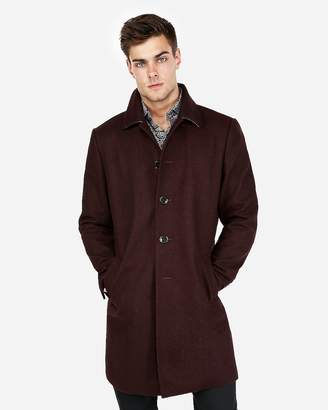 Express Burgundy Recycled Wool-Blend Topcoat