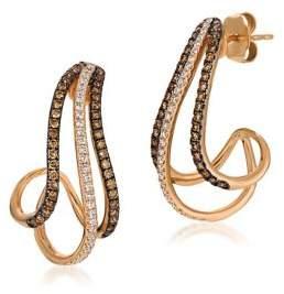 LeVian Le Vian Chocolatier Vanilla Diamonds, Chocolate Diamonds & 14K Strawberry Gold Curve Earrings