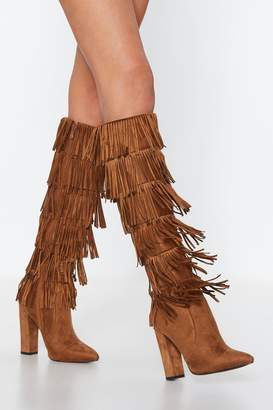 Nasty Gal Lead the Sway Fringe Knee-High Boot