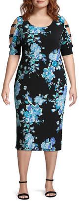 Tiana B 3/4 Sleeve Floral Shift Dress - Plus