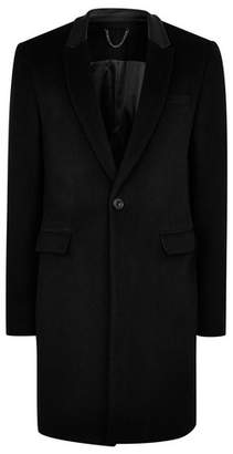 Topman Mens Black Wool Blend Overcoat with Real Leather Collar