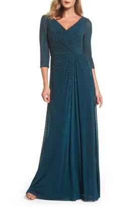 La Femme Beaded Twist Knot Waist Gown