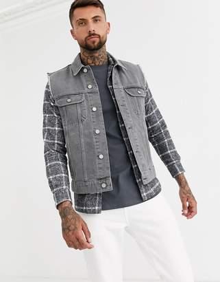 Design DESIGN sleeveless denim jacket in grey
