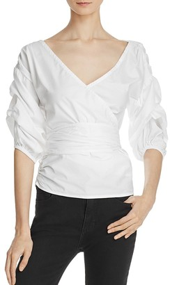 MLM Label Salo Gathered Sleeve Wrap Blouse $220 thestylecure.com
