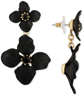 Rachel Roy Gold-Tone Crystal Flower Double Drop Earrings
