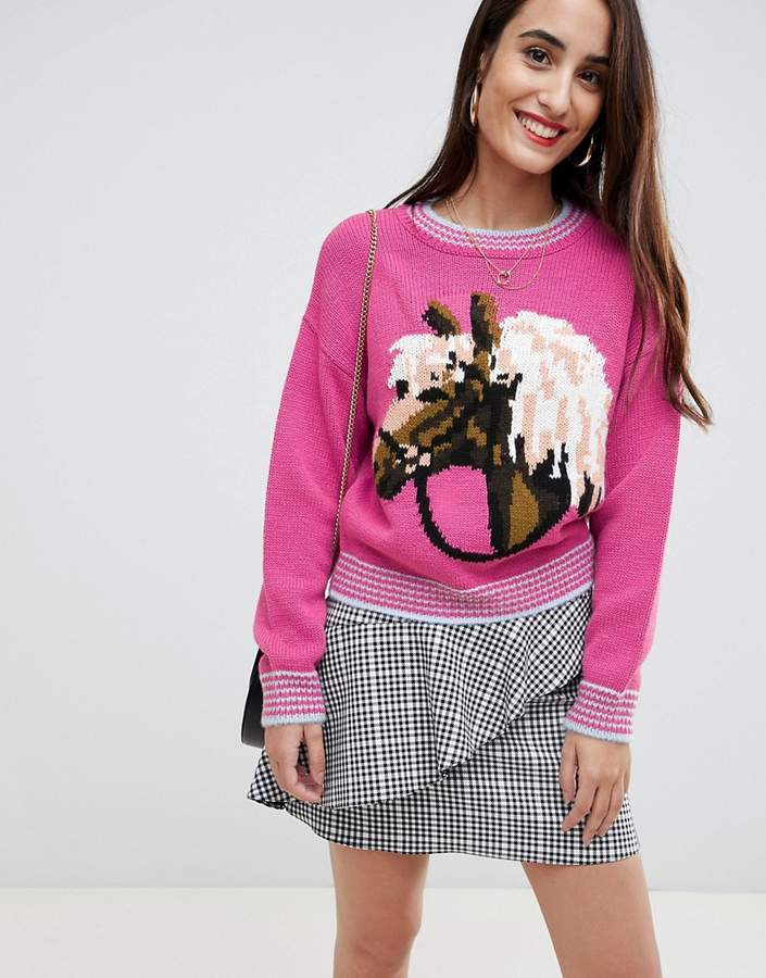 ASOS DESIGN chunky sweater with horse pattern