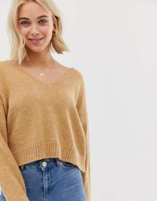 Asos Design DESIGN cropped jumper in fluffy yarn and off shoulder
