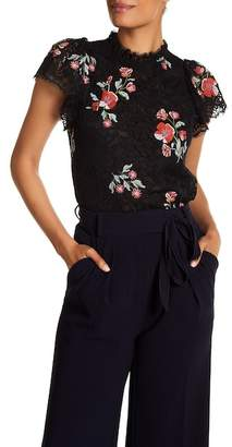 Rebecca Taylor Short Sleeve Floral Embroidered Lace Blouse
