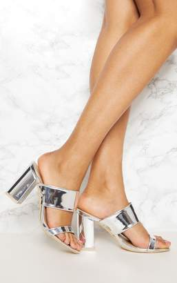 PrettyLittleThing Silver Twin Strap Block Heel Sandal
