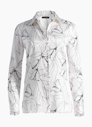 St. John Hand Drawn Artisanal Floral Print Silk Blouse