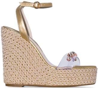 516ef0a6c73 Sophia Webster metallic gold Dina 140 leather wedge sandals