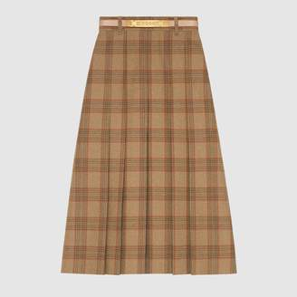 Gucci Check wool A-line skirt