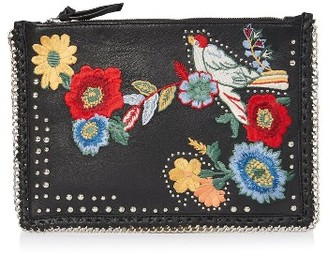 Topshop Oto Embroidered Leather Crossbody Bag - Black $70 thestylecure.com