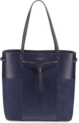 Tory Burch Block-T Leather Bucket Tote Bag, True Navy $425 thestylecure.com