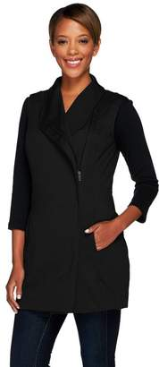 Lisa Rinna Collection Knit Vest with Asymmetric Zip Front