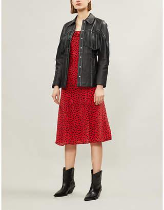 The Kooples Ruffle-trimmed leopard-print silk-crepe dress