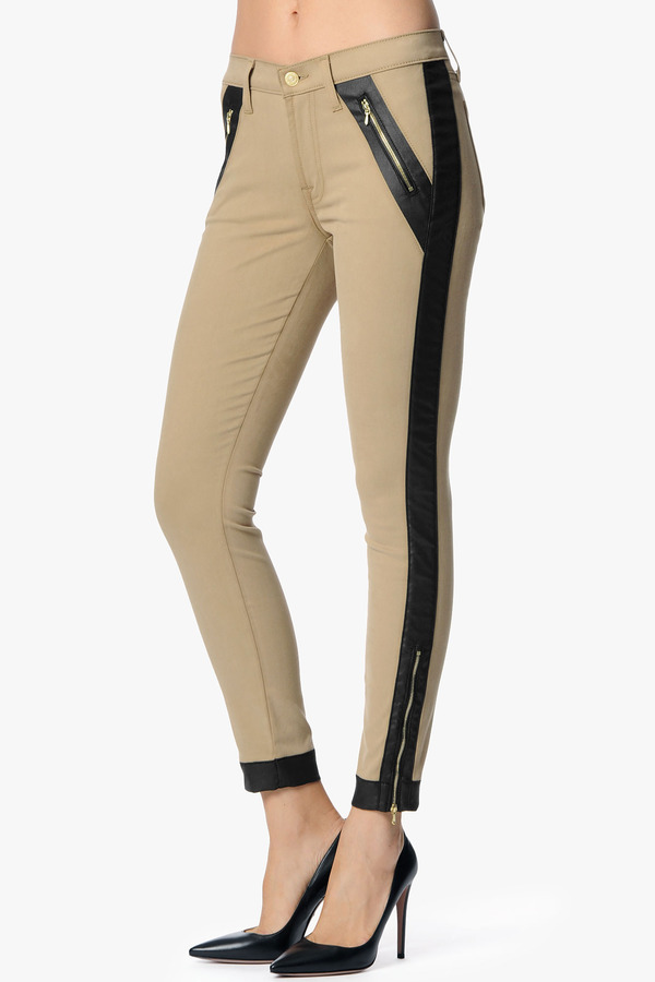 7 For All Mankind The Tuxedo Pieced Moto Skinny In Camel