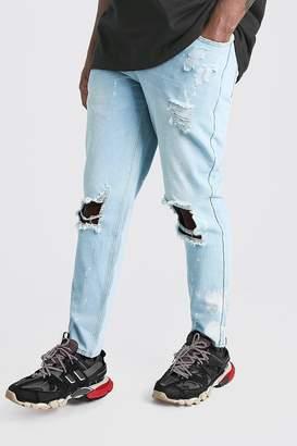 boohoo Big & Tall Slim Bleached Distressed Jeans