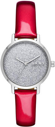 DKNY Women Modernist Red Patent Leather Strap Watch 32mm