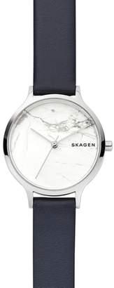 Skagen Anita Stone Leather Strap Watch, 34mm