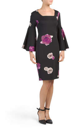 Square Neck Floral Bell Sleeve Dress