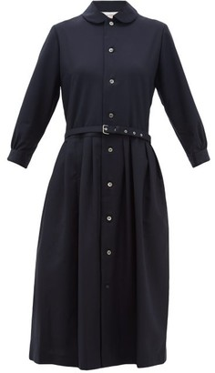 Comme des Garcons Belted Wool Shirtdress - Womens - Navy