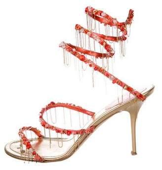 Rene Caovilla Embellished Wrap-Around Sandals