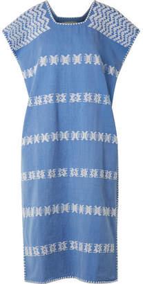 Pippa Holt - Embroidered Cotton Kaftan - Mid denim