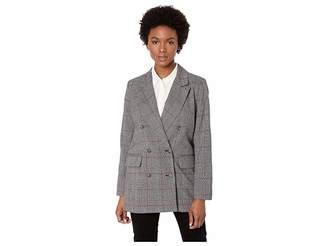 CeCe Long Sleeve Menswear Plaid Oversized Blazer Women's Jacket