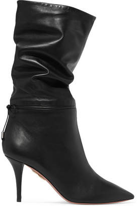 Aquazzura Claudia Schiffer Le Marais Leather Boots - Black