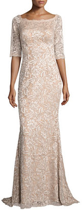 Jovani 3/4-Sleeve Floral Lace Mermaid Gown, Blush $650 thestylecure.com
