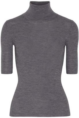 Theory - Leenda Ribbed Merino Wool Turtleneck Sweater - Gray $190 thestylecure.com