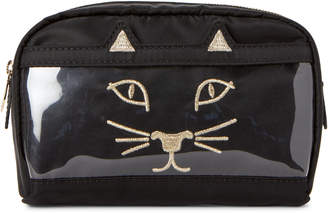 Charlotte Olympia Black Purrrfect Cosmetic Bag