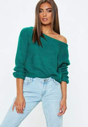 Missguided Green Crop Off Shoulder Knit Sweater