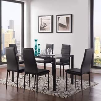 Mainstays Parsons 7 Piece Dining Set Black/Black