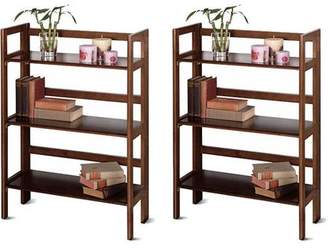 Winsome Wood Wood Folding 3-Shelf Bookcase, Set of 2, (Mix and Match)