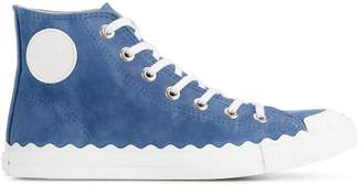 Chloé Blue Suede Kyle Hi Top Sneakers