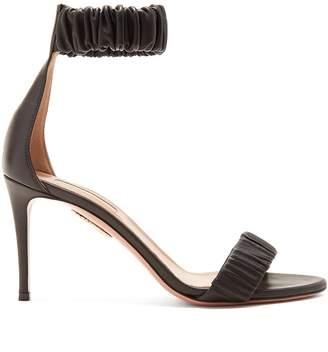 Aquazzura Liberty 85 ruched-leather sandals
