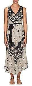 Warm Women's Floral Cotton Belted Maxi Dress