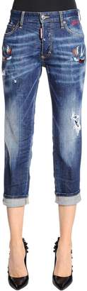DSQUARED2 Boyfriend Fit Tattoo Birds Denim Jeans