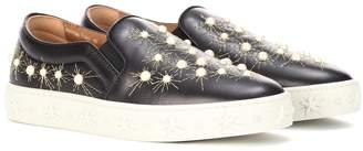 Aquazzura Cosmic Pearls leather slip-on sneakers