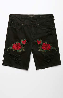 Pacsun Slim Destroy Floral Black Denim Shorts