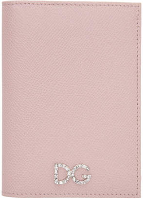 Dolce & Gabbana Pink Crystal Logo Passport Holder