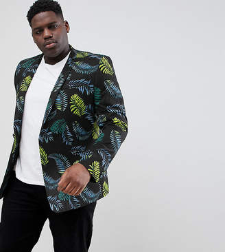 Asos Design DESIGN Plus Skinny Blazer In Cotton With Palm Print