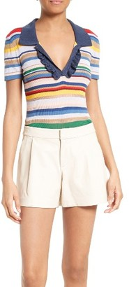 Women's Alice + Olivia Martha Stripe Ruffle Placket Polo $275 thestylecure.com