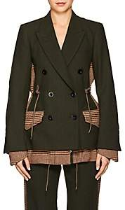 Sacai Women's Wool-Paneled Checked Blazer-Beige, Khaki