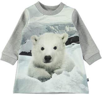 Molo Corey Baby Polar Bear Long-Sleeve Dress, Size 6-24 Months