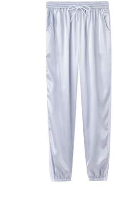 DAY Birger et Mikkelsen Surprising workout-and-training-pants SDay Spring Summer Women Satin Casual Pink Retro White Stitching Closed Comfy Wweatpants Leisure Trousers Pants Capris