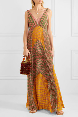 Self-Portrait Pleated Printed Crepe Maxi Dress - Orange