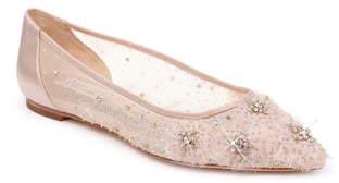 Badgley Mischka Collection Adrienne Crystal Embellished Skimmer Flat